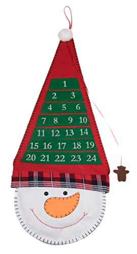 "Christmas 24 Day Hanging Cloth Advent Calendar | Red and White Snowman with Tall Hat Christmas Design | Traditional Holiday Christmas Decor Theme | Perfect for Home or Office | Measures 26.5"" Tall"