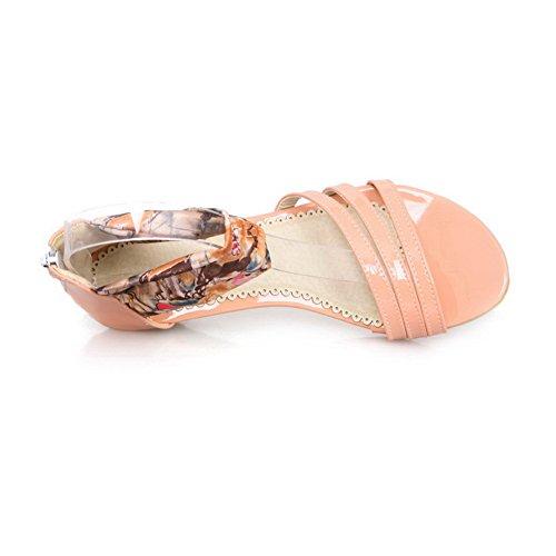 Puntera De Cremallera Aalardom Rosa Sólido Mujer Sandalias Vestir Mini Abierta Tacón 8E6xqF6wH