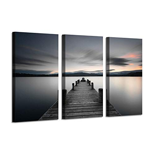 Dock Picture Coastal Artwork Painting: Pier Boardwalk Wall Art Print on Canvas for Bedroom Walls (34