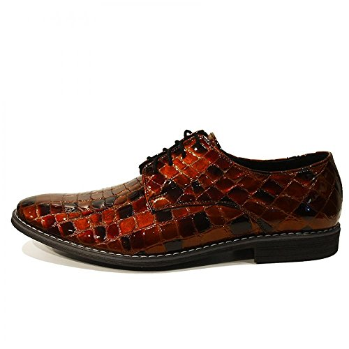 Modello Riccardo - Handmade Italiennes Cuir Pour Des Hommes Brun Chaussures Oxfords - Cuir de vachette Cuir verni - Lacer