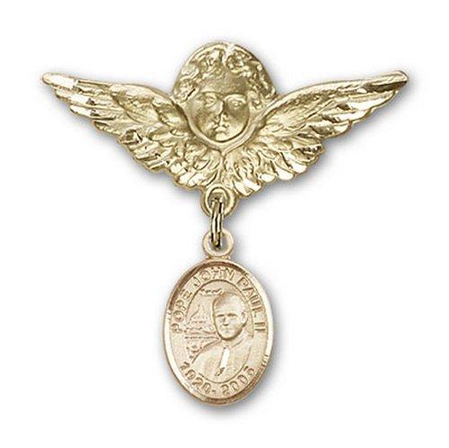 Icecarats Or Bijoux De Créateurs Pape Jean-Paul II Rempli Charme Ange Broche De Badge 1 1/8 X 1 1/8