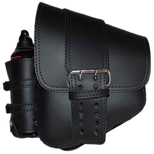 La Rosa Harley-Davidson Softail & Rigid Black Leather Solo Strap Left Saddlebag + 30oz Fuel Bottle & Holder