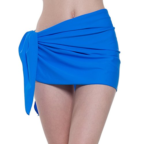 (ChinFun Women's Soft Nylon Spandex Sarong Wrap Beach Swimwear Short Style Cover Up Pareo Swimsuit Wrap Solid Colors Blue)