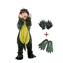 Dreamowl Kids Dinosaur Animal Costume Childrens Plush Pajamas attach shoes paw