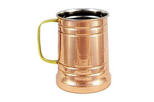 German Style Hammered Copper Beer Stein - 100% Pure Heavy Gauge Copper Beer Mug - 20 oz ()