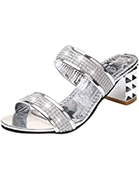 Women Square Heel Sandals Slippers Ladies Classics Crystal Round Toe Med Thick Heel Outdoor Summer Party