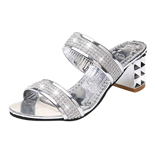 Orangeskycn Women Sandals Fashion Crystal Open Toe Square Heel Sandals Thick Heel Shoes Hollow Outdoor Slippers -