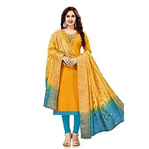Leeza Store Women's Ethnic Wear Cotton Salwar Kameez (Yellow Color_Free Size)