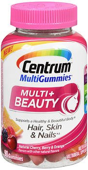 Centrum MultiGummies Multi+ Beauty Natural Cherry Berry And Orange - 90 Gummies, Pack of 5