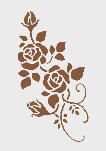 Cfsupplies - 125-Micron Reusable Mylar Stencil for Decorating Walls - A4 Size - Rose Design