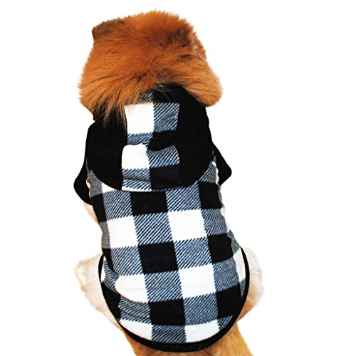(Fashion Puppy Jacket Plaid Overcoat Waistcoat Coat Pet Dog Clothes Winter Pullover Outerwear for Small Doggie Cat Apparel (Black,)