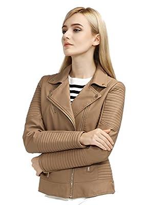 Bellivera Womens Faux Leather Short Jacket
