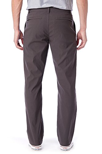 UNIONBAY Men's Rainier Lightweight Comfort Travel Tech Chino Pants, Charcoal, 34x30