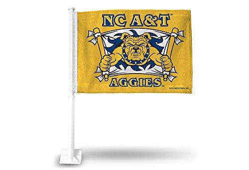 NCAA North Carolina A&T Aggies Car Flag, Yellow, with White Pole
