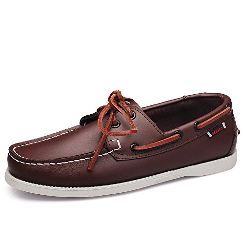 EnllerviiD Men Classic Two-Eye Boat Shoes Slip-On Driving Moccasins Flat Leather Loafers 9023 Brown