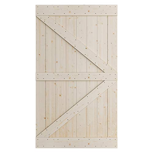 SmartStandard 48in x 84in Sliding Barn Wood Door Pre-Drilled Ready to Assemble, DIY Unfinished Solid SpruceWood Panelled…