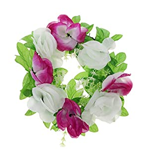 MagiDeal Artificial Silk Rose Funeral Tombstone Cemetery Grave Flower Wreath Decor - F 52