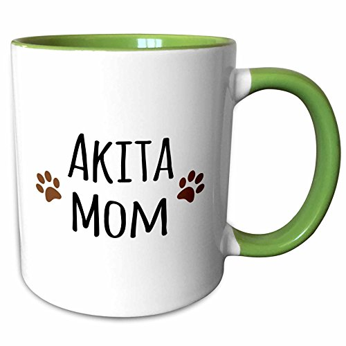 Akita Mug - 3dRose InspirationzStore Pet designs - Akita Dog Mom with muddy brown paw prints - doggie by breed - doggy mama love lovers - 11oz Two-Tone Green Mug (mug_154056_7)