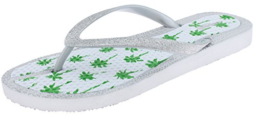 Capelli New York Ladies Glitter Flip Flops with Palm Tree Print Silver 8