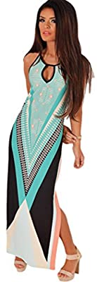 TomYork Christmas Multicolor Side Split Maxi Print Dress