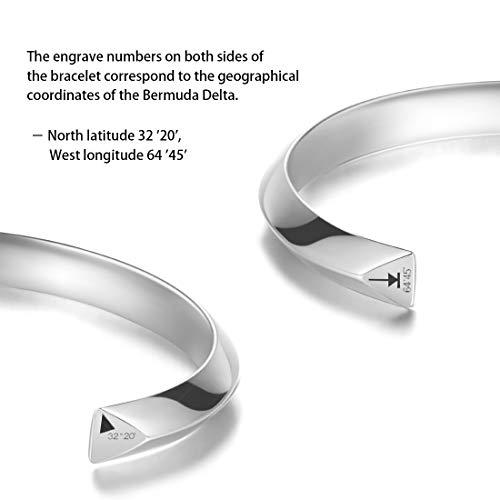401586908d9 Carleen Bermuda 925 Sterling Silver Unisex Open Cuff Bangle Bracelet Simple  Minimalist for Men Women;