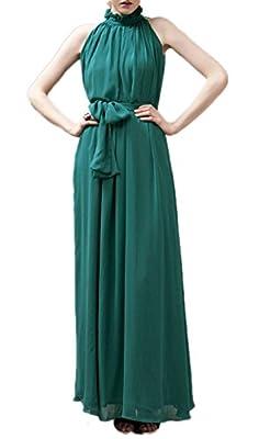 VSVO Women Halter Neck Sleeveless Chiffon Maxi Dresses