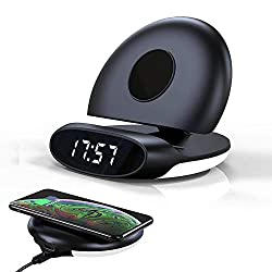 Amposei Wireless Charging Alarm Clock Foldable Stand Digital Alarm Clock with Night Light LED Display USB Charger Port Compatible with iPhone 8/8 Plus/X/XS/XS Max/XR/, Galaxy S8/S7/Note5 and More