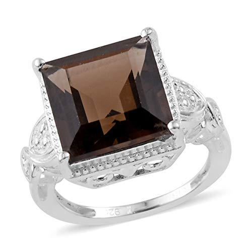 Solitaire Ring 925 Sterling Silver Square Smoky Quartz Gift Jewelry Size 7 Cttw 4.1