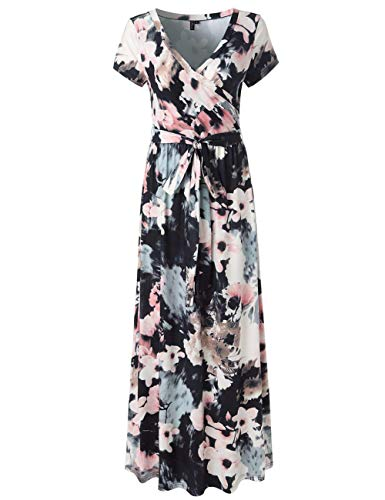 YUMDO Women's V Neck Short Sleeve Floral Print Faux Wrap Long Maxi Dress Belt White Black L