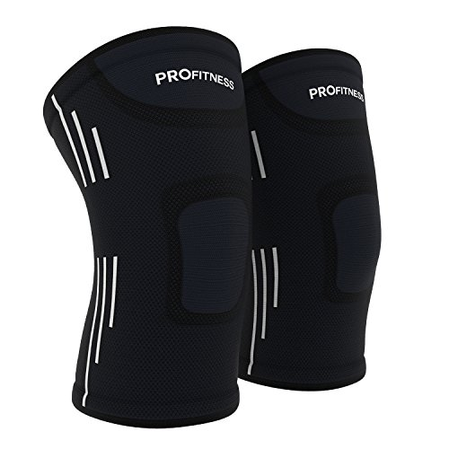 ProFitness Knee Sleeves (One Pair) Knee Support For Joint Pain & Arthritis Pain Relief - Effective Support for Running, Pain Management, Arthritis Pain, Surgery Recovery (Large, Black/White)