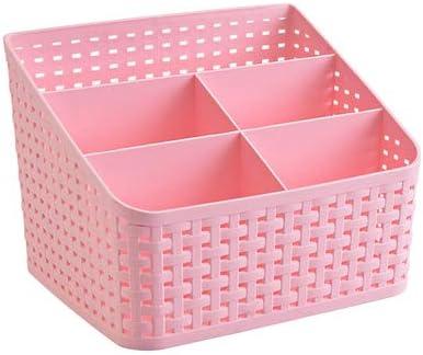 Cesta de almacenamiento, organizador de caja cosmética Escritorio 5 rejilla Sub-rejilla Estuche de almacenamiento Almacenamiento multifunción para escritorio Oficina Dormitorio Hogar Cocina-Rosado