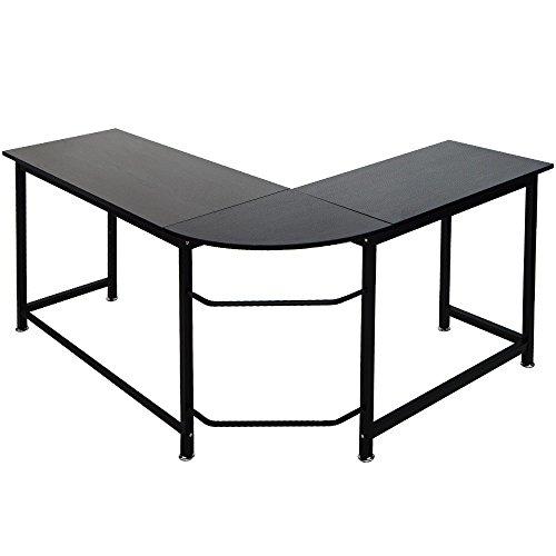 ModernLuxe WF036968BAA L-Shape Home Office Corner Computer Desk PC Laptop Table Workstation Wood & Metal (Black) ()