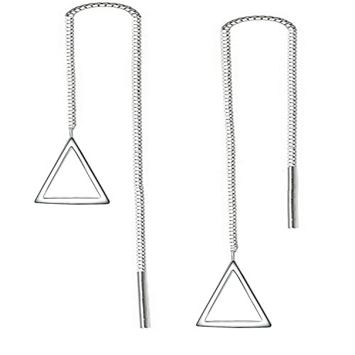 925 Sterling Silver Simple Design Dangling Triangle Drop Earrings for Women