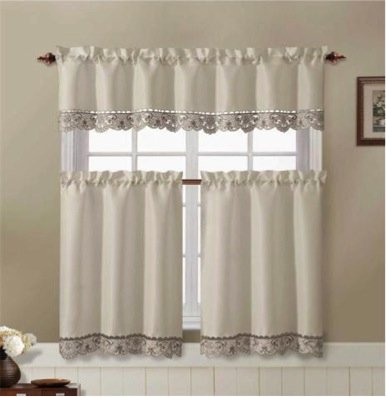 3 Piece Flowers Embroidery Kitchen Curtain-Beige / Taupe Valance & 2 Tiers-Julian
