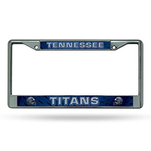 Tennessee Titans Laser License Plate - Rico Industries NFL Tennessee Titans Standard Chrome License Plate FrameStandard Chrome License Plate Frame, Multicolor, 0.5