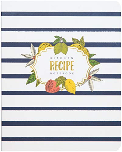 C.R. Gibson Blue and White Striped Floral Spiral Recipe Journal, 100 Pages, 7.25