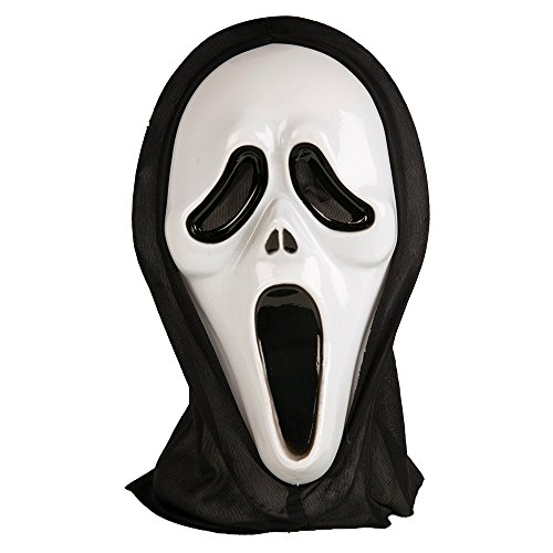 Face Mask For Halloween (Adults Halloween Ghost Face Scream Mask with Black Hood)