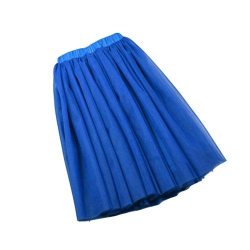 Fuweiencore Acampanado Del Capas Largo Las Falda Real Elegante 5 Tul Alto Enagua De Medio Mujeres Tutú Vintage Elástica Azul rqarCc4