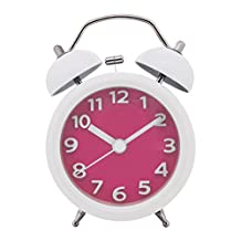 "Konigswerk 3"" Quiet Non-ticking Silent Quartz Analog Bedside Twin Bell Alarm Clock With Loud Alarm and Nightlight (Pink)"