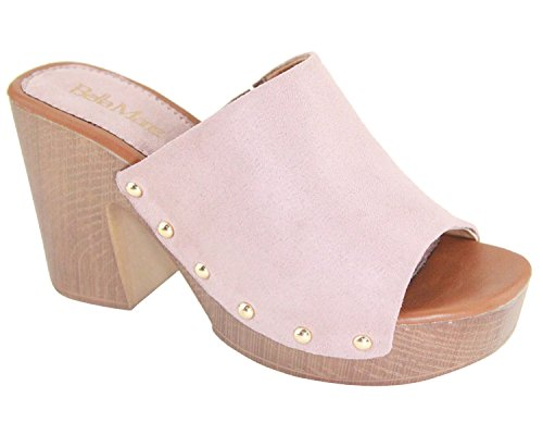 BM Women Clogs Mules Open Toe Chunky Block Heel Platform Slip On All Colors Pink-spikes
