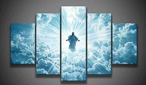 Print 5 pcs canvas wall art print Jesus is coming painting art picture home Decor Canvas Art Print Painting on canvas PT0762,medium,framed