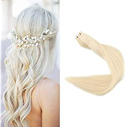 """Full Shine 22"""" 50g Per Package Brazilian Remy Human Hair Extensions 100% Real Hair Tape in Extensions White Blonde Color #60 Tape Hair Skin Weft Tape Ins"""