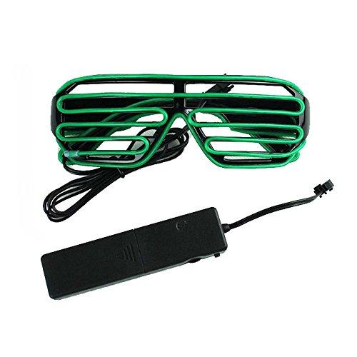 Ake EL Wire Glasses Shutter LED Fluorescent Flash Sunglasses Eyeglasses Voice Control for Ballroom Bar Party