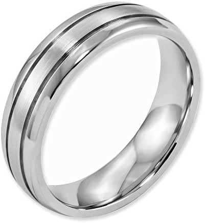 Cobalt Polished and Satin Grooved 6mm Band