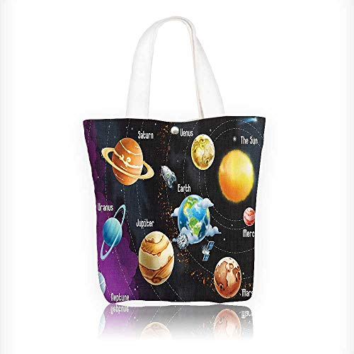 Canvas Tote Bag Solar System of Planets Milk Way Neptune Venus Mercury Sphere Horiztal Illus Zipper Closure Grocery Shopping Bag Shoulder Bag for Women Girls Students W16.5xH14xD7 INCH by Jiahonghome