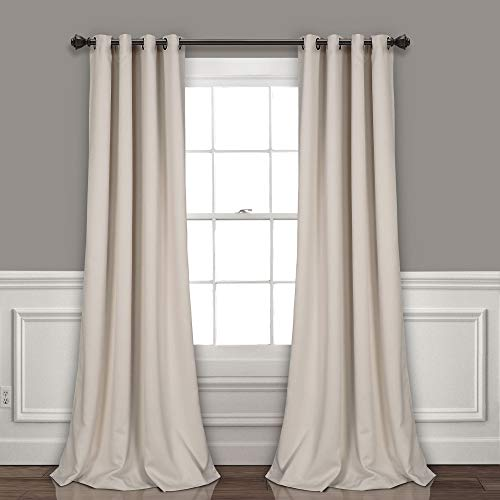 Lush Decor Wheat Curtains-Grommet Panel with Insulated Blackout Lining, Room Darkening Window Set (Pair) 120' x 52 L