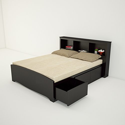 Amaani Furniture #39;s Solid Wood Queen Size Bed with Storage  Oxford Black