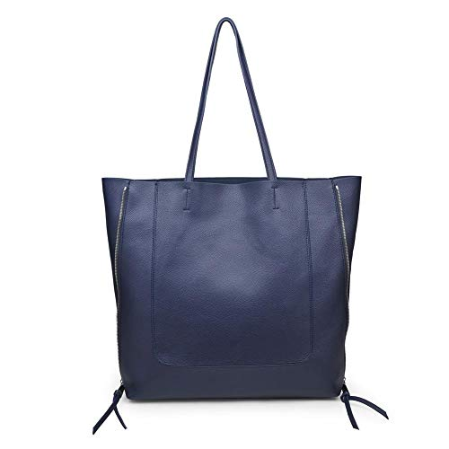 Vegan Leather Large Tote for Women, Pebble Textured Leather Tote, Faux Leather Tote, Adjustable Size Shoulder Bag, Urban Expressions, Olympia, Navy ()