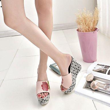LvYuan Mujer Sandalias Confort PU Verano Confort Tacón Cuña Blanco Negro Rosa 12 cms y Más Black