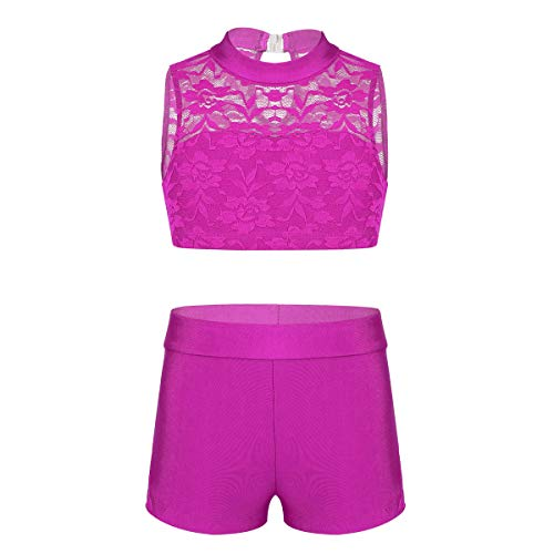 TiaoBug Kids Girls Two-Piece Ballet Dance Gymnastic Athletic Tracksuits Outfits Crop Tops with Dancing Briefs Bottoms Shorts Rose_Red(Floral Lace) 5-6]()